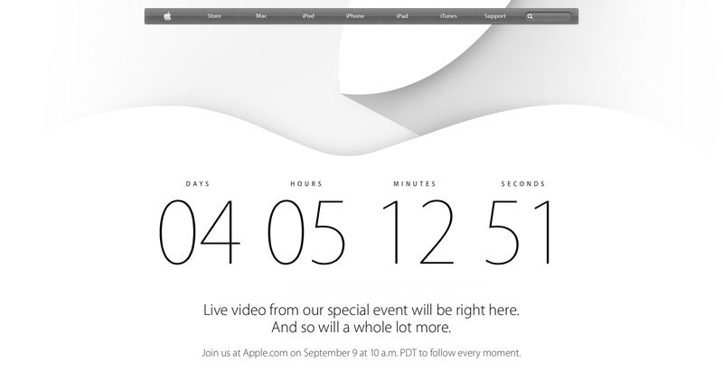 Apple Event-Countdown. Quelle: Apple.de