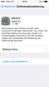 iOS 8 Installation auf dem iPhone