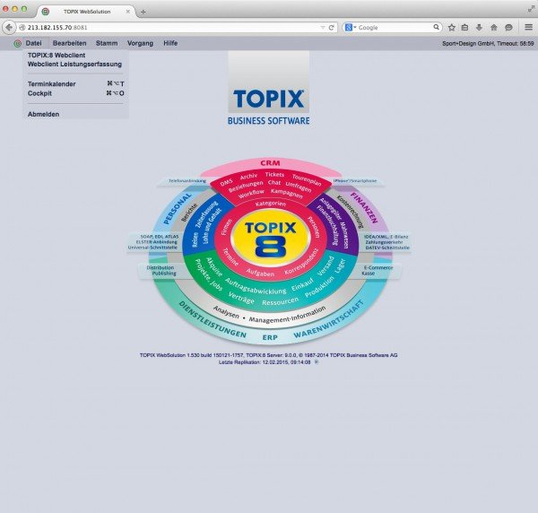 TOPIX WebSolution Menü Datei