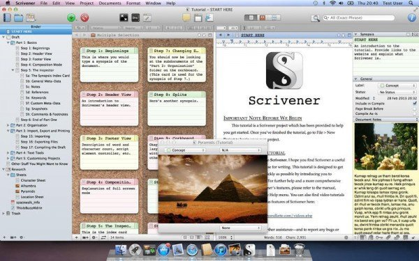 Screenshot. Quelle: https://www.literatureandlatte.com/scrivener.php via Mac App Store