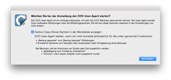 Backup-Assistent starten mit dem Carbon Copy Cloner für Mac OS X