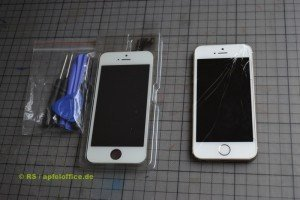 iPhone Display Reparatur-Set inkl. Werkzeug und iPhone mit defektem Touchscreen-Retina-Display