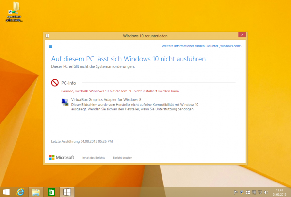 VirtualBox Fehlermeldung Virtualbox Graphics Adapter for Windows 8 verhindert die Installation von Windows 10 auf dem Mac