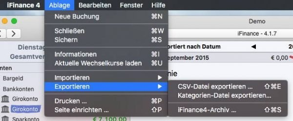 Export-Optionen in iFinance